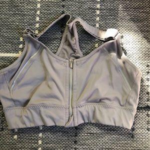 Athlete Zip Up Sports Bra- Grey
